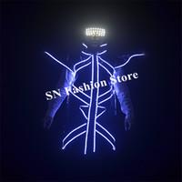 Gli uomini di EC94 hanno condotto i costumi chiari ballroom robot vestito da DJ giacca MC indossa occhiali luminosi partito puntelli incandescente cappotto cantante spettacolo abiti discoteca