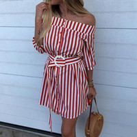 Off Shoulder Women Shirt Dress 2018 Casual Half Sleeves Stri...
