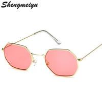 Gafas de sol de moda para mujer Diseñador de la marca Pequeño marco  Polígono Lentes transparentes 40e94edee5f8