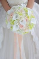Mais recente buquê de casamento branco champanhe rose calla lírio verde hortênsia noiva bouquet de dama de honra