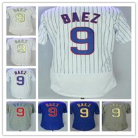 Cheap Quality Men' s Chicago 9 Javier Baez Grey Blue Whi...
