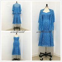 Plus Size Blue Tea- Length Lace Mother of the Bride Dresses s...