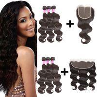 100% необработанные бразильские Виргинские человеческие волосы объемная волна утка 3 пачки с 13x4 кружева фронтальной или 4x4 кружева закрытия человеческих волос переплетения