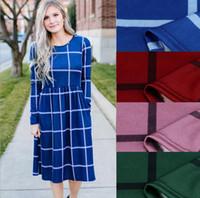 Plaid-Frauen kleiden langes Hülsen-beiläufiges Kleid-Plaid-Spielanzug-dünner Rock-Damen-Partei-Minihemd-Kleid OOA4149