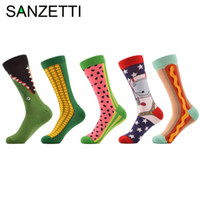 Wholesale- SANZETTI 5 pair/lot Men's Combed Cotton Socks Funny Pattern Corn Space Man Hot Dog Watermelon Novelty Socks Casual Crew Socks