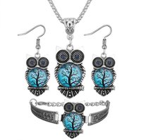 4 Color owl stone necklace earring bracelet suit Euramerican...