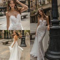 Muse by Berta 2019 Свадебные платья Mermaid Sheer Sweetheart Backless Lace Bridal Gowns Country Beach Свадебное платье Custom