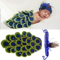 0- 3M Crochet Newborn Baby Peacock Outfits Knitted Peacock Ba...