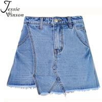 Jessie Vinson Mode Femmes Taille Haute Asymétrique Large-jambe A-ligne Mini Short Jeans Jupe Slim Tassel Laver Denim Shorts Jupes