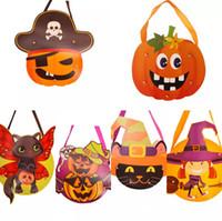 2018 NEW Halloween-DIY Papier-Geschenk-Beutel-Karikatur Kreative Beuter Kinder handgemachte DIY Handtaschen Schädel-Kürbis-Halloween-Produkte liefern
