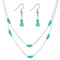 New Cor Prata Jóias de Ouro Declaração Para Jóias Mulheres nupcial Define Turquesa Pedra Beads Colar Brinco Jóias Set HZ