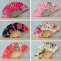 Fãs Design Ornamento da arte retro Bamboo Chinese Folding Flor Flor de cerejeira clássico da mão Dance Party Wedding Mulheres Favor presente 3 7mq KK