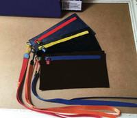 Famous Brand 2018 Men's canvas POUCH bag designer Satchel handbag ribbon Wallet LEATHER PURSE CLUTCH M68004 have dust Bags GC#113 Wallets