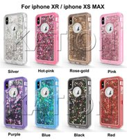 3in1 반짝이 액체 퀵드로 트 케이스, 새로운 아이폰 xr xs max iphone X 8 7 6S Note9 Bling Crystal Robot Defender Cases Cover