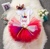 INS ребёнки Unicorn костюмов бутики ползунки + Тута юбка + оголовье 3шт девушку нарядов новорожденных праздники комплекта одежду малыш подарки