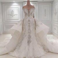 Tallas grandes 2020 Cristales de cuentas Vestidos de novia de sirena de encaje Overskirt Fuera del hombro Vestidos de novia de diamantes de imitación Vestidos de novia Vestidos De Novia
