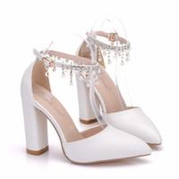 Neue Fashionl Handmade spitz Perlen Perlen Schuhe für Frauen Heels Mode Hochzeit Schuhe klobige Ferse Schuhe Sexy Plus Size Braut Fersen