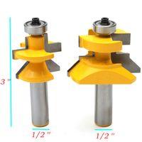 높은 품질 2pcs 라우터 비트 세트 1/2 인치 X 3 인치 일치하는 혀 그루브 V- 노치 45도 커터 키트 도구 목공