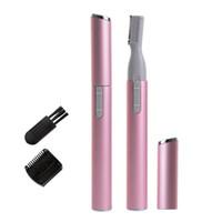 Rosa Cor Prático Elétrica Sobrancelha Tesoura Aparador de Pêlos Mini Portátil Mulheres Corpo Barbeador Removedor De Lâmina de Barbear Depilador