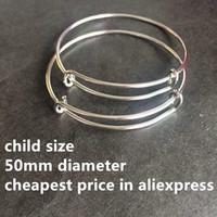 (50 unids) de alta calidad 50 mm niños tamaño acero ajustable ajustable brazalete brazaletes pulseras