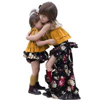 AiLe Rabbit Girls Conjuntos de ropa Conjuntos de verano Conjuntos a juego Hermanita Hermana mayor Condole Cinturón Tops florales + Bloomers Falda Pantalones cortos 2 piezas