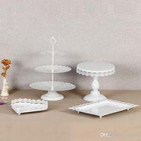 Crystal Dessert Cake Stand för bröllopsfödelsedagsfest dekorationer Hållare utan kristall Metall Iron Cupcake Display Rack Ny stil 95DS ZZ