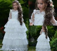 Principessa Flower Girl Dresses for Weddings A Line Tiered Gonne Jewel Neck 3D Floral Appliques Perle Girls Pageant Dress Kids Formal Wear