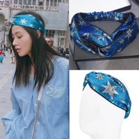 Blue Star Cross Turban Streetwear Luxury Brand Hair Bands He...