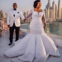 Wunderschöne langarm Südafrika Meerjungfrau Brautkleid Sparkle Pailletten Perlen Spitze Applique Brautkleid Custom Made Plus Größe