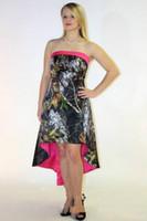 섹시하고 현대적인 카모 댄스 파티 드레스 - 라인 Strapless 비대칭 하이 로우 공식적인 이브닝 드레스 위장의 숲 신부 들러리 드레스