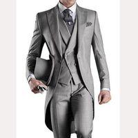 2018 серый свадьба хвост для жениха носить пикированный отворот одной кнопки три части изготовленные на заказ Groomsmen мужские костюмы куртки брюки жилет