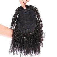 Jet black 3c 4b афро кудрявые вьющиеся волосы девственницы хвостики для чернокожих женщин с низким натуральным волосами человеческих хвосты 120 г