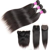 Baratos paquetes de cabello humano brasileño recto 8A con frontales 100% tramas de cabello virgen sin procesar 3 paquetes de armadura con extensiones de remy de cierre
