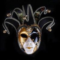 Lüks Parti Maskeleri Şenlikli Kostüm Maskeleri Vintage Masquerade Maske İtalya Venedik Boyalı Tam Yüz Maskeleri Cadılar Bayramı Için