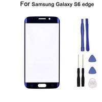araçlarla Samsung Galaxy S6 Kenar G925 G925F G9250 İçin Yeni Değiştirme LCD Ön Dokunmatik Ekran Paneli Dış Cam Lens