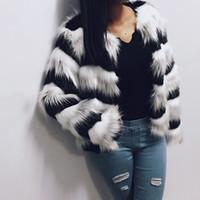 Зима Плюс Размер Мода Топы Женщины Имитация Меха Пальто Волна Pattern Лоскутное Короткие Шубы Верхняя Одежда Теплые Толстые Искусственные Пальто
