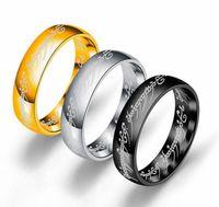 6mm Tamaño 6 -13 Banda de anillo de acero inoxidable chapado en oro Coctel de boda Cocktail Marido Padre Regalo