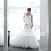 Elegante V Collo V Collo cavo Maniche lunghe Sirene Abiti da sposa Backless Puffy Tulle Pizzo Abiti da sposa 2018 Nuova Bride Robe de Soiree