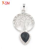 xinshangmie argent plaqué naturel noir agates coupe visage goutte d'eau forme vie pendentif arbre femmes charme Jewerly 1 pcs
