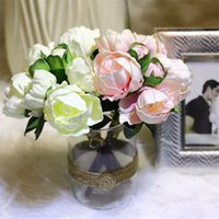 PU Güller Buket Düğün Yapay Çiçek Gerçek Dokunmatik PU Şakayık 8 Çiçek Baş Sahte Çiçekler Düğün Dekorasyon Ev Dekoratif için çiçek