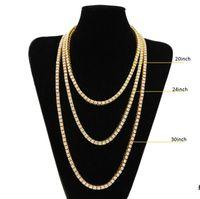 سلسلة الذهب الهيب هوب الصف مقلد الماس الهيب هوب المجوهرات قلادة سلسلة 18-20-24-30 بوصة رجل الذهب لهجة مثلج خارج سلاسل القلائد
