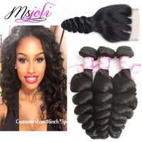 9A Brazilian virgin human hair weave loose wave natural colo...