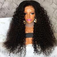 شعر الإنسان الرباط الباروكة أسود غريب مجعد شعر مستعار طويل 130٪ الكثافة الشعر الطبيعي البرازيلي غلويليس الدانتيل الجبهة شعر الإنسان الباروكات للنساء السود