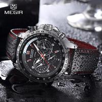Les hommes regardent la marque de montres-bracelet de quartz de montre-bracelet de MEGIR des hommes chauds de mode montres en cuir pour les hommes occasionnels horloge noire pour les hommes 1010