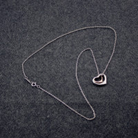 S925 Sterling Silver necklace Two Open Heart Women Necklaces...