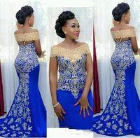 2018 nouvelles robes de soirée longues élégantes sirène éraflé à l'épaule avec broderie dorée longueur de plancher africaine femme bleu formelle promenade robe de soirée