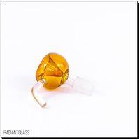14mm Schüssel bernsteinfarbene Glasschale mit gebogenen Griff Rauchen Zubehör für Bong oder Wasserrohr Ölbohrinsel