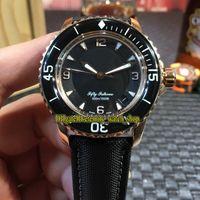 MM Factory Nuevo FIFTY FATHOMS 5015-3630-52 Dial Negro Japón Miyota Reloj automático para hombres Caja de oro rosa Banda de cuero de fibra de nylon Relojes deportivos