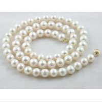 "20"" 9- 10mm Genuine white akoya natural pearl necklace y..."