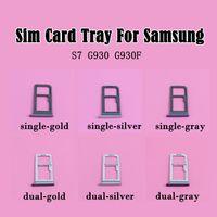 100% neue Doppel-SIM-Micro-SD-Speicherkarte Halter Slot für Samsung Galaxy S7 G930 VS G930F Dual Single Sim Tray 100PCS